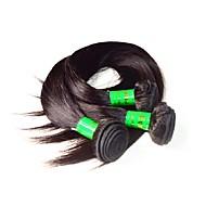 10a Hint bakire saç ipek düz 3bundles 300g çok doğal siyah renk% 100 işlenmemiş Hint insan saçı örgüler demetler dökülmeden yumuşak