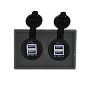 12V/24V 2PCS 3.1A USB power socket with housing holder panel for car boat truck RV