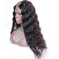 água ondulado u parte peruca remy brasileiro do cabelo virgem 22inch 130% de densidade de 1,5 * 4 parte média cor natural upart peruca