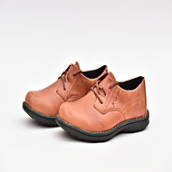 Men's Flats Spring Summer Fall Winter Other Comfort Nappa Leather Outdoor Office & Career Casual Split Joint Lace-up Coffee Walking