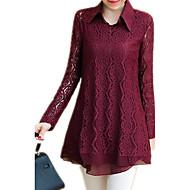 Annet Rød Sort Medium Langermet,Skjortekrage Skjorte Ensfarget Alle sesonger Sexy Vintage Sofistikert Ut på byen Formelle Arbeid Dame