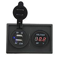 12V / 24V 3.1a dubbla USB-uttag och ledde voltmeter med hushållaren panel för bil båt lastbil rv