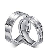Anéis Fashion Pesta Jóias Zircônia Cubica / Aço Feminino Anéis Grossos 1pç,Tamanho Único Prateado