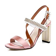 Women's Sandals Spring Summer Fall Club Shoes Comfort Novelty Cowhide Office & Career Party & Evening Dress Chunky Heel Rhinestone Buckle