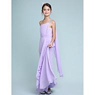 Lanting Bride® Tot de grond Chiffon Junior bruidsmeisjesjurk Strak/kolom Eén-schouder met Kralen / Zijdrapering / Ruches