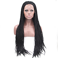 flettet varmebestandig syntetisk snøre foran parykk svart farge syntetisk hår fiber parykker
