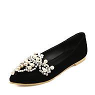 Women's Flats Spring Summer Comfort Leatherette Wedding Party & Evening Dress Flat Heel Imitation Pearl Sparkling Glitter Black Red Other
