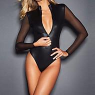 Ultra Sexy Nightwear,Sexy Solid-Medium Patent Leather Black
