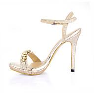 Žene Sandale Ljeto Udobne cipele PU Vjenčanje Formalne prilike Zabava i večer Stiletto potpetica Štras Srebrna Zlatna