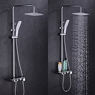 Contemporary Tub And Shower Thermostatic with  Ceramic Valve Single Handle Two Holes for  Chrome , Shower Faucet