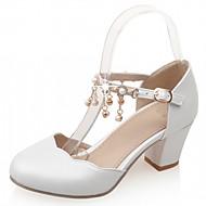 Damen-High Heels-Hochzeit Büro Kleid Lässig Party & Festivität-Kunststoff PU-Blockabsatz-Komfort Neuheit-Rosa Weiß Marinenblau