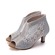 Для женщин-Кружева Лак-Персонализируемая(Красный Серебро Золотистый) -Латина Джаз Современный Обувь для свинга Танцевальные сапожки