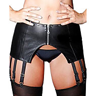 Women Garters & Suspenders Ultra Sexy Nightwear,Sexy Solid-Medium Patent Leather Black