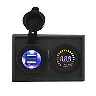 12V led digital display voltmeter and 4.2A USB adapter with housing holder panel for car boat truck RV