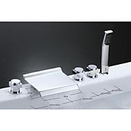 עכשווי מסורתי ארט דקו / רטרו חורים צדדיים מפל with  שסתום קרמי שלוש ידיות חמישה חורים for  כרום , ברז לאמבטיה