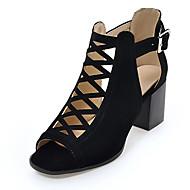 Sandaalit-Leveä korko-Naisten-Fleece-Musta Vihreä Beesi-Puku Rento Juhlat-Gladiaattori
