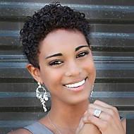 Nagyon rövid természetes göndör frizura tanksapka nélküli emberi haj paróka fekete nők számára 2017