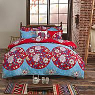 Blomster Sengesett 4 deler Polyester Luksus Reaktivt Trykk Polyester Konge 1stk Dynetrekk 2stk Trekk 1stk Flatt Laken