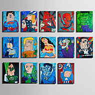 Kanvas Sæt Tegneserie Abstrakt Portræt Moderne,Et Panel Kanvas Horisontal Kunsttryk Vægdekor For Hjem Dekoration