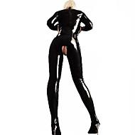 Women Ultra Sexy Nightwear,Sexy Solid-Medium Patent Leather Black