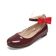 Women's Flats Spring Summer Fall Winter Comfort Leatherette Office & Career Dress Casual Chunky Heel Bowknot Black Pink Red White