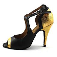 Obyčejné-Dámské-Taneční boty-Latina-Koženka-Vysoký úzký-Červená Zlatá