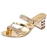 Feminino-Sandálias-Chanel Sapatos clube-Salto Baixo Salto Grosso-Preto Roxo Prateado Dourado-Courino-Ar-Livre Escritório & Trabalho Casual