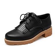 נשים-נעלי אוקספורד-סינטתי דמוי עור PU-נוחות חדשני-שחור אפור שקד-משרד ועבודה יומיומי מסיבה וערב-עקב עבה חסום את העקב