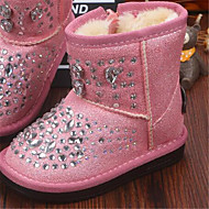 Girl's Sneakers Fall Winter Comfort Suede Casual Flat Heel Magic Tape Pink White Other
