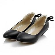 Dame-Kunstlær PU-Flat hæl-Komfort Original-Flate sko-Bryllup Kontor og arbeid Formell Fest/aften-Svart Rosa Hvit Beige
