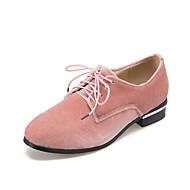 נשים-נעלי אוקספורד-פליז-נוחות-שחור ורוד אדום אפור-משרד ועבודה שמלה יומיומי-עקב נמוך