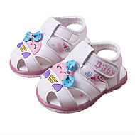 Girl's Sandals Spring Summer Fall Comfort PU Casual Flat Heel Bowknot Applique Pink White Peach