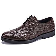 Oxfords-sapatos Bullock-Rasteiro-Preto Vinho Café-Couro-Casamento Escritório & Trabalho Casual Festas & Noite