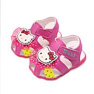 Девочки Дети Сандалии Удобная обувь Полиуретан Весна Лето Осень Повседневные Удобная обувь Бант Аппликация На плоской подошвеПерсиковый