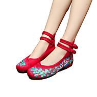 Черный Бежевый Красный Синий-Для женщин-Для прогулок Для занятий спортом Повседневный-Полотно-На плоской подошве-Пляжная обувь Удобная