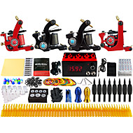 Complete Beginner Tattoo Kit 4 Pro Machine Power Supply Needle Grips TKD01