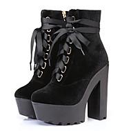 Women's Boots Spring / Fall Platform Velvet Dress / Casual Chunky Heel Zipper / Lace-up Black / Blue / Gray
