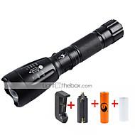 Iluminação Lanternas LED Kits de Lanternas LED 2000 Lumens 5 Modo Cree XM-L T6 18650.0 AAA Foco Ajustável RecarregávelCampismo / Escursão