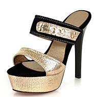 Women's Sandals Summer Club Shoes Novelty Velvet Patent Leather Customized Materials Party & Evening Dress Stiletto Heel Rivet Split Joint