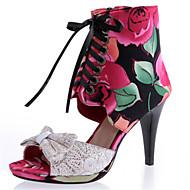 סנדלים-משי בד-גלדיאטור נעלי מועדון-כחול אדום-שמלה יומיומי מסיבה וערב-עקב סטילטו