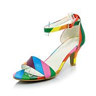 Sandálias-Conforto Sapatos clube-Salto Agulha-Preto Rosa Arco-Íris-Veludo Materiais Customizados Courino-Escritório & Trabalho Social