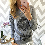 Women's Casual/Daily Club Vintage Punk & Gothic Spring Fall Shirt,Geometric Round Neck Long Sleeve Red White Gray Cotton Medium