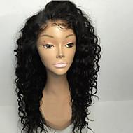8 a 8-30inch liimattoman Nyörilliset peruukit kihara luonnon musta väri brasilialainen hiuksista pitsi peruukit naisille