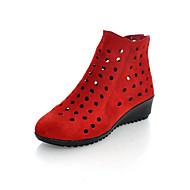 Dame-Fleece-Flat hæl-Club Sko-Flate sko-Kontor og arbeid Formell Fritid-Svart Brun Rød