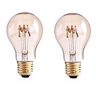 4W B22 E26/E27 Lâmpadas de Filamento de LED G60 1 COB 400 lm Branco Quente Regulável AC 220-240 AC 110-130 V 2 pçs