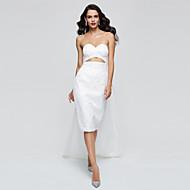 TS Couture® Coquetel Vestido - Elegante Estilo Celebridade Tubinho Coração Até os Joelhos Renda com Pregas