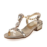 Feminino-Sandálias-Sapatos clube Inovador-Salto Baixo-Dourado Prateado-Materiais Customizados Gliter-Casual Social