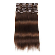 9pcs / set deluxe 120g klippet i hair extensions medium brun 16inch 20inch 100% rett menneskelig hår for kvinner