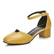 Dame-Kunstlær-Tykk hæl Blokker hælen-Komfort Original D' Orsay og todelt-Høye hæler-Kontor og arbeid Formell Fritid-Hvit Svart Gul