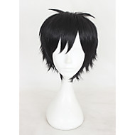 14inches court yuri yuri noir sur glace Katsuki perruque synthétique d'anime cosplay perruque cs-317c